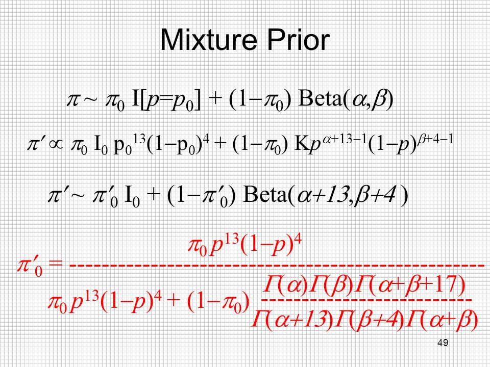 Mixture Prior p ~ p0 I[p=p0] + (1-p0) Beta(a,b)
